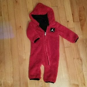 Jordan red onesie size 3/6 month.